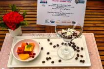 Sugar-free Callebaut Belgian Dark Chocolate Sorbet with Cut Fresh Fruits