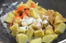 With sweet potato, chilli powder, cumin powder and salt
