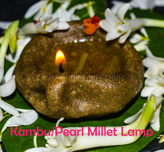 Karthigai Deepam Edible Lamps (Kozhukattai / Dumplings) Usually we prepare kozhukattai/dumplings with rice flour and sugar or jaggery for karthigai Deepam. As all of us eagerly looking for healthier food, I prepared 3 varieties of kozhukattai / dumplings one with Rice flour, other with Ragi/Finger Millet flour and the last one with Kambu/Pearl Millet flour. Moreover I have shaped them as Deepam / Diya and also lit the lamp with ghee/clarified butter and a cotton wig. For sweetness I have infused sugar with rice flour, organic brown sugar in Ragi/Finger millet flour and powdered jaggery with kambu/pearl millet flour. Let me share the recipe… Rice Flour Lamp Ingredients: • Rice flour (store bought) – 1 cup • Sugar – ½ cup • Hot boiling water – ¾ cup • Salt – ¼ tsp Preparation: • Take rice flour in a wide mouth bowl, add the sugar and salt, mix it well with your hands. • Make a well in the centre of the flour, pour the hot boiling water little by little and start kneading the dough to a ball. • Divide the dough to a small portion and shape it to lamp, and steam it for 5 to 10 mins or until the lamp is cooked. • Bring it to room temperature, pour ghee/clarified butter in the centre of the lamp, soak a cotton wig in the ghee and lit the lamp. Ragi / Finger Millet Lamp Ingredients: • Ragi / Finger Millet flour – 1 cup • Organic brown sugar – ½ cup • Hot boiling water – ¾ cup • Salt – ¼ tsp Preparation: • Take ragi flour in a wide mouth bowl, add the organic brown sugar and salt, mix it well with your hands. • Make a well in the centre of the flour, pour the hot boiling water little by little and start kneading the dough to a ball. • Divide the dough to a small portion and shape it to lamp, and steam it for 5 to 10 mins or until the lamp is cooked. • Bring it to room temperature, pour ghee/clarified butter in the centre of the lamp, soak a cotton wig in the ghee and lit the lamp. Kambu / Pearl Millet Lamp Ingredients: • Kambu / Pearl Millet flour – 1 cup • Powdered jaggery