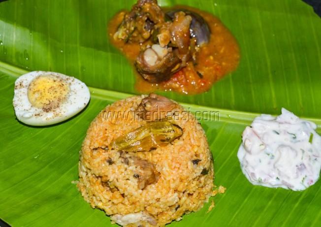 New year lunch 2017 - Mutton Biryani, Mutton Dalcha, onion raita and Boiled egg