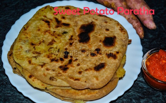 Sweet Potato Paratha, sweet potato paratha recipe, cheeni kilangu, cheeni kilangu recipe, cheenikizhangu, cheenikizhangu recipe, sweet potato recipe, images of paratha, images of sweet pototo paratha, picture of sweet potato paratha, tamil recipe, breakfast, breakfast recipe, low cholerestrol, low cholestrol recipe, madraasi, immadraasi, madraasi recipes, varieties of paratha, pa
