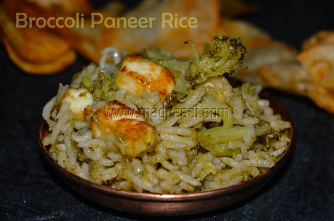 Broccoli Paneer Rice, images of broccoli rice, broccoli rice, broccoli rice recipe, broccoli recipe, paneer, paneer rice, paneer recipe, paneer rice recipe, image of broccoli paneer rice, vegetarian rice, vegetarian rice recipe, vegetable rice, vegetable rice recipe, tamil recipe, tamil recipes, variety rice, variety rice recipe, tamil variety rice, tamil variety rice recipe, images of variety rice, variety rice image, Indian variety rice, Indina variety rice recipe