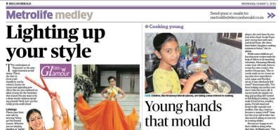 My daughter got featured in Deccan Herald
