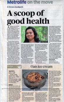 Featured in deccan herald for Oats Ice cream