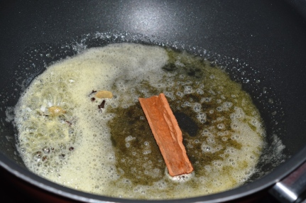 Spices geting sauted with butter