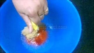 Wtih chilli powder, ginger and garlic paste with salt and lemon juice