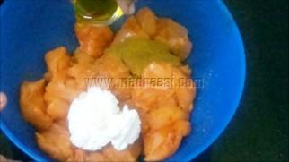 With garam masala, hung curd, mustard oil