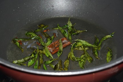 Spices and curry leaves getting tempered