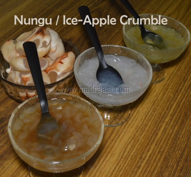 Nungu, nungu crumble, nungu recipe, thatti nungu, thatti nungu recipe, thatti nungu crumble, ice-apple, ice-apple recipe, ice-apple crumble, picutre of nungu, picture of ice apple, picture of thatti nungu, image of nungu, image of ice apple, image of thatti nungu, tamil food, tamil recipe, nungu cooking video, nungu video, ice-apple video