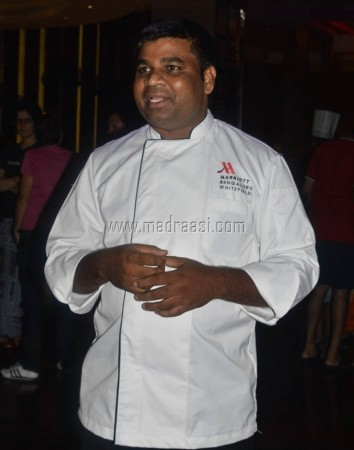 Chef. Madhusudhanan explaning about the food festival and the way of preparation