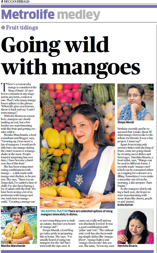 Madraasi Featured in Deccan Herald for Mango Mania, madraasi features, madraasi 2017 features, madraasi 2017, deccan herals, mango mania, madraasi mango mania, madraasi mango recipe, madraasi mango recipes,