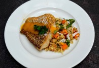 Crispy Skinned Snapper & Quinoa Salad with Mangoes prepared by Chef Elena Duggan