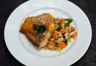 Crispy Skinned Snapper & Quinoa Salad with Mangoes prepared by Chef Elena Duggan