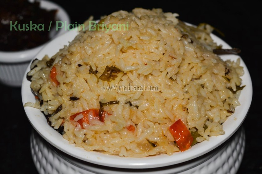 kuska, plain briyani, how to cook kuska at home, how to prepare kuska at home, how to prepare plain briyani at home, kuska recipe, plain briyani recipe, how to make plain briyani, briyani recipe