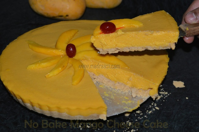 Mango cheese cake, mango cheese cake recipe, how to make mango cheese cake, how to make mango cheese cake at home, mango recipe, madraasi mango recipe, mango mania, tamil mango recipe, Indian mango recipe, mango season, fruit cheese cake, cheese cake, mango cheese cake picture, image of mango cheese cake, picture of mango cheese cake, tamilian cooking, no bake mango cheese cake, no bake mango cheese cake recipe
