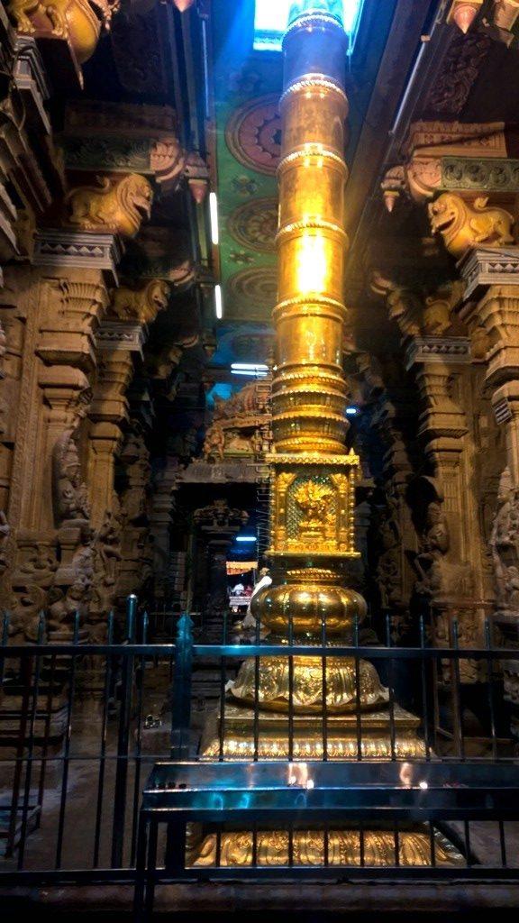 Golden Pillar in Madurai Meenakshi Amman Temple