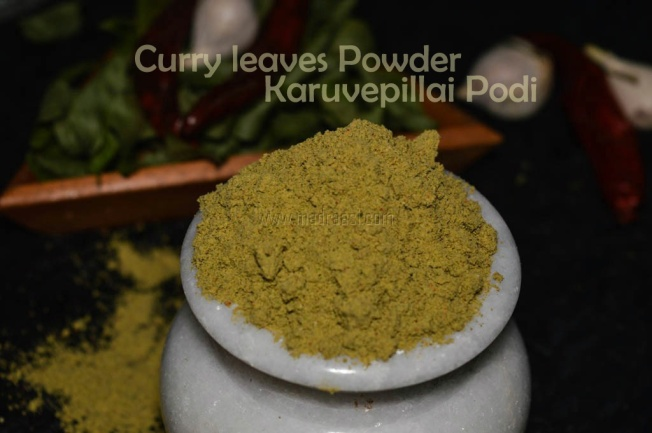 curry leaves powder recipe, curry leaves powder, curry leaves recipe, curry leaves powder for idli, curry leaves powder for idli, karuvepillai podi recipe, karuvaepillai podi recipe, karuvepillai podi seimurai, how to make karuvepillai podi,