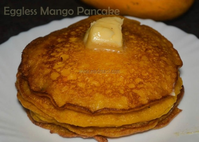 Eggless mango pancake recipe, mango pancake recipe, eggless pancake recipe, eggless mango pancake recipe, madraasi eggless pancake recipe, madrasi eggless pancake recipe, madraasi eggless pancake recipe, mango recipe, mango pancake, mango pancake image, mango pancake picture, eggless mango pancake image, eggless mango pancake picture