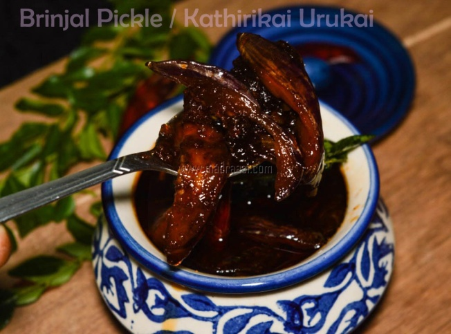 sweet and sour birnjal pickle, sweet and sour brinjal pickle recipe, sweet and sour kathirikai pickle recipe, kathirikai pickle, kathirikai pickle recipe, kathirikai urugai, kathiriakai urugai recipe, kathirikai oorugai, kathirikai oorugai recipe, urugai recipe, pickle recipe, sweet pickle recipe, food, tamil pickle recipe, tamil food, brinjal pickle, brinjal pickle recipe, eggplant pickle, eggplant pickle recipe, pickle image, sweet and sour brinjal pickle image, kathirikai pickle picture, eggplant pickle recipe, Indian pickle recipe, tamil pickle recipe, tamil urugai recipe