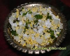 Kosambari, kosambari recipe, kosambari images, kosambari picture, Navratri recipe, Navratri 2017, Navratri food, madraasi, madraasi recipes, Karnataka style kosambari recipe, tamil salad, tamil salad recipe, koshambari, koshambari recipe, Navratri special, hesaru bele kosambari recipe, moong dal salad, green gram salad recipe, cucumber kosambari recipe, cucumber kosambari Karnataka style, cucumber kosambari images, cucumber kosambari picture, cucumber salad recipe, cucumber green gram salad, cucumber mung dal salad, vellarikkai salad, vellari salad, vellari paasi payaru salad, cucumber salad recipe