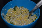 Soaked mungal dal, finely chopped cucumber, coriander leaves, grated coconut