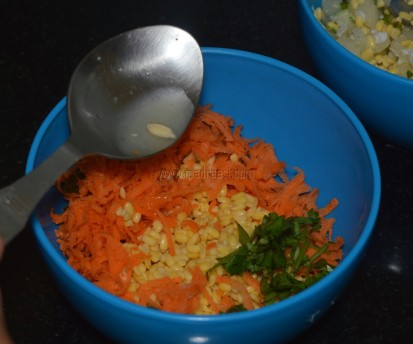 Grated carrot, coriander leaves, soaked split green gram, lemon juice