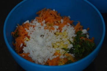 with grated coconut