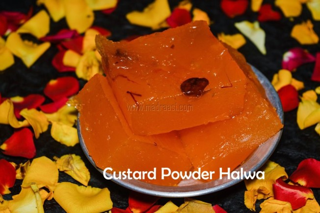 Indian sweets recipe, halwa, halwa recipe, custard powder recipe, custard powder halwa, custard powder halwa recipe, Diwali recipe, Diwali special, Diwali 2017, custard powder halwa video recipe, custard powder halwa in youtube, image of custard powder halwa, picture of custard powder halwa, custard powder halwa picture, custard powder halwa image, halwa image, halwa picture, Tamil nadu Deepavali recipe, tamil Diwali recipe,