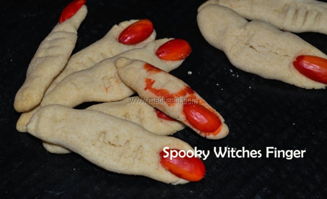 Spooky witches finger recipe, eggless spooky withces finger recipe, eggless whole wheat flour recipe, eggless spooky recipe, eggless halloween recipe, easy hallloween recipe, easy cooking, spooky witches finger image, spooky witches finger picture, witches finger image, halloween 2017, halloween images, halloween pictures, halloween ideas